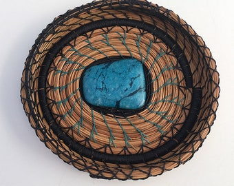 Navy and Turquoise Pine Needle Basket - Item 825 by Susan Ashley