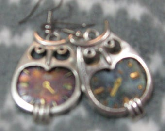 Steampunk owl watch visage boucles d'oreilles Harry Potter FunkyAlternativeJewelry, OlympiaEtsy, SupportingArtists, HandmadeJewelryGuild, CraftCount