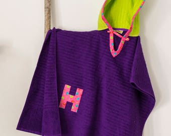 Hooded Towel Poncho, Personalized, in Purple and Lime Green. Boy or Girl print (your choice). Bath Towel. Beach towel.