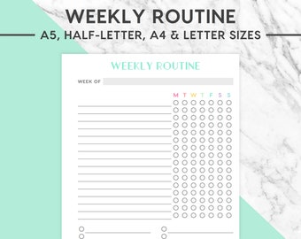 NEW! WEEKLY ROUTINE Printable | Pastel, Weekly Routine, Daily Checklist, Morning Routine, Night Routine, Cleaning Routine