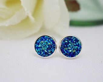 Blue Stud Earrings - Druzy Stud Earrings - Blue Bridesmaids Earrings - Something Blue Earrings - Druzy Earrings - Stud Earrings for Girls
