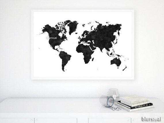 36x24 printable world map black white wall art black