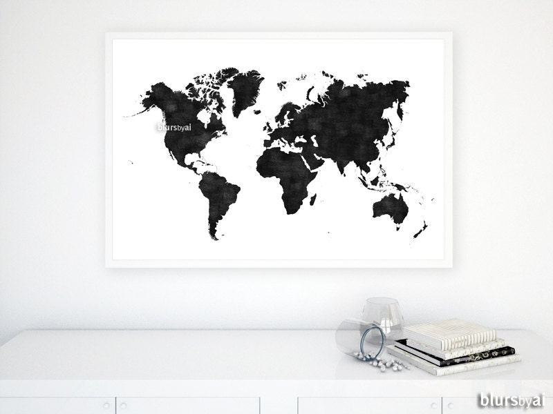 36x24 printable world map black white wall art black zoom gumiabroncs Gallery