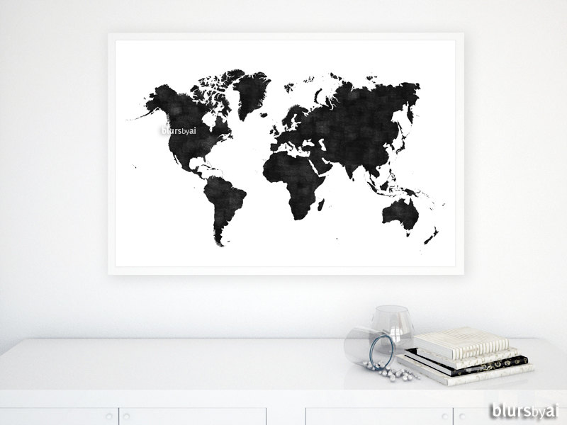 36x24 printable world map black white wall art black zoom gumiabroncs