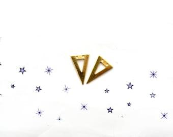 2 raw brass triangle charms