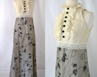 1970s Victorian Revival Iridescent Metallic Lurex and Ruffled Lace Sleeveless Maxi Dress