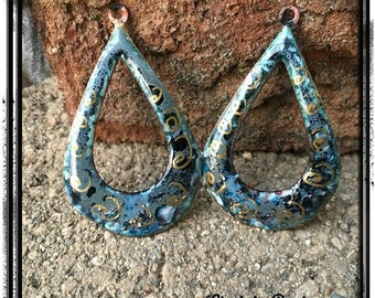 Blues and Grays Teardrop Enamel Charms