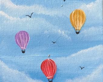 Mini Hot Air Balloon Painting on Canvas