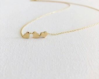3 Tiny Gold Hearts Dainty Necklace