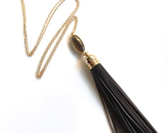 Long Tassel Necklace, Black and Brown Leather Tassel Necklace, Bohemian Tassel Quartz Necklace, Long and Layered Necklace, Bohemian Jewelry