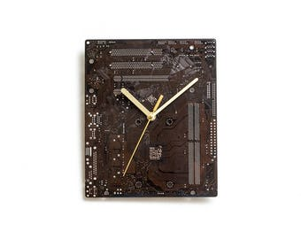 Dark Brown Large Wall Clock, Circuit Board Clock, Computer Clock, Unique Wall Clock, Unique Gift, Boyfriend Gift, Husband Gift, Wall Clock