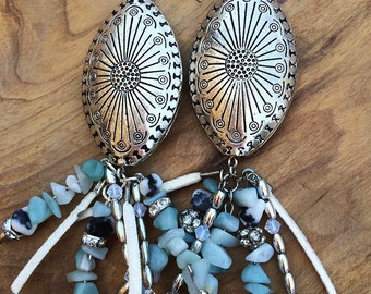 NEW Handmade Western Earrings, Boho, Rhinestone, Dangle, Festival, Western, Native, Turquoise, Unique, Tribal (Crystal Daisy Earrings)