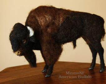Needle felting Buffalo, felted Bison, Buffalo sculpture, felted animal, male buffalo figurine, american wildlife animal
