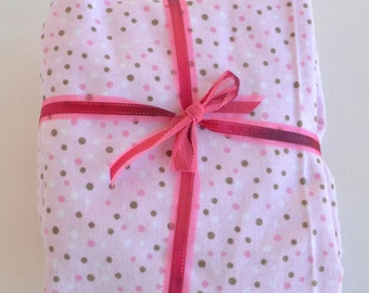 Flannel Fitted Crib Sheet, Baby Girl Crib Sheet, Toddler Girl Crib Sheet, Pink Polka Dot Crib Sheet