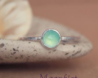 Dainty Aqua Promise Ring - Sterling Silver Engagement Ring - Chalcedony Ring - Blue Gemstone Ring - Aqua Ring - Blue Stacking Ring - Size 8