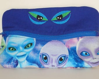 SMILING ALIEN EYES Pencil or Phone Case with Friendly Aliens 100% cotton fabric nylon zipper closure