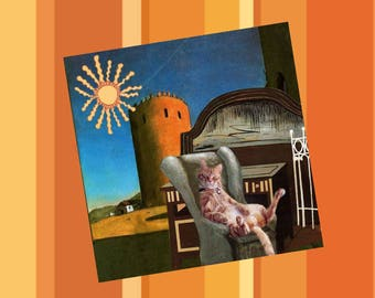 double square card with cat: autumn sun