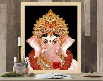 GANESHA GANAPATI,Handmade, Print,Indian God, Yoga art,Hindu, Tantric, Kundalini, Elephant God, Meditation, Indian Deity, Poster,Spiritual