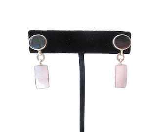 Pair of Vintage Bask Signed 925 Sterling Silver Mother of Pearl & Abalone Pierced Dangle Earrings