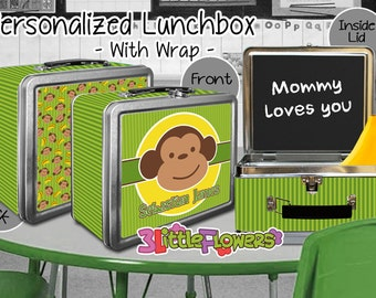 Green Monkey Lunchbox - Personalized Metal Lunch Box with Chalkboard inside - Double-sided Tin Lunch Box - Name lunch box - Wrap or NO wrap
