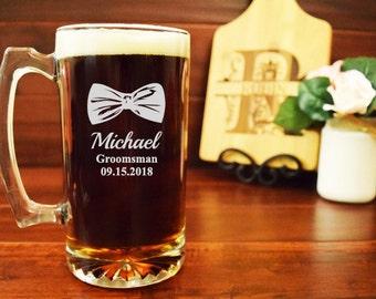 Groomsmen Beer Mugs, Bow Tie Gifts for Groomsman, Personalized Beer Mugs, Custom Beer Steins, Best Man, Usher, Bow Tie, Bowtie, BB05