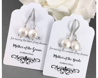 Gift for Moms Swarovski Pearl Earrings Wedding Jewelry Dangle Earrings Mother in Law Gift Mother of Bride Gift Mother of Groom Gift