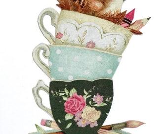 Bird in Tea Cups, MAGNET, Tea Cup, Tea, Cup and Saucer, Vintage Tea Cups, Bird Lover Gift, Mother's Day, Artist Decor, Birds, Antique cups