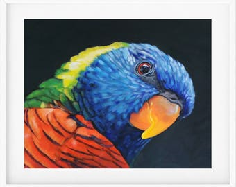 Rainbow Lorikeet Art Print, colourful bird painting, parrot painting, parrot art, bird lover gift, bird art, bird gift, australian bird