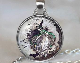Fairy tale Witch pendant, witch necklace witch jewelry Halloween jewelry witch wiccan jewellery key chain key ring key fob keychain keyring