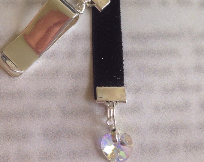 Featured listing image: Crystal Heart bookmark / Love Bookmark - Attach clip to book cover then mark the page with the ribbon. Never lose your bookmark!