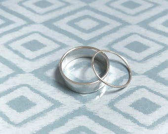 wide band and thin ring