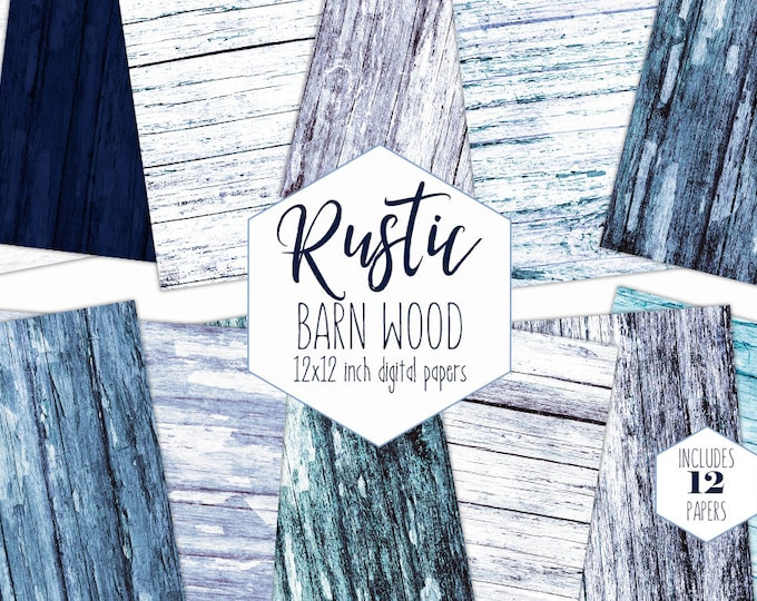RUSTIC BLUE WOOD Digital Paper Pack White Wash Wood Grain Backgrounds Beach Scrapbook Papers Barn Wood Printable Textures Commercial Use
