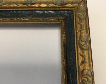 Vintage Hand Carved Ebonized Gilt Wooden Frame 7 x 9