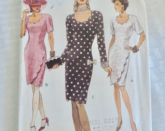 Vogue 8545 Size 10 Misses' Semi-Fitted Straight Lined Dress Sewing Pattern / Uncut FF