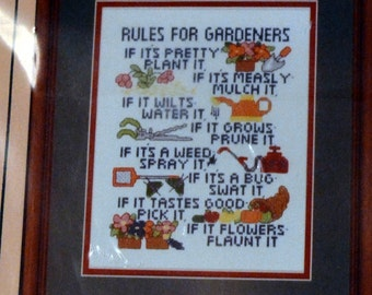 Vintage Cross Stitch Gardeners Rules Counted Cross Stitch Project by Patty Ann Creations