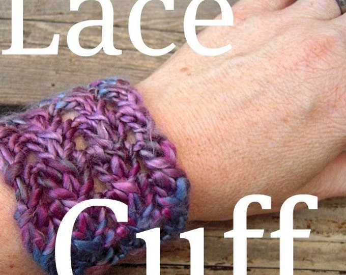 PDF Handspun Shimmery Lace cuff hairband wristlett knitting pattern digital download SELL items knit from this