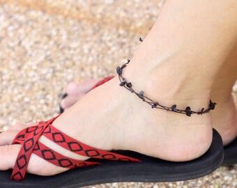 Simple Black Adjustable Anklet