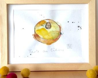 Tartelette au Citron Illustration - Lemon Tart - French Cake - Pastry  - Original Ink and Watercolour on Paper