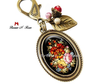 Bag charm * flowers * jewelry fantasy Bohemian red rose cabochon