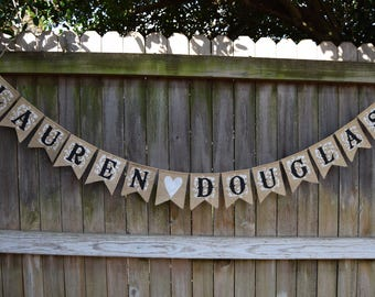 Burlap banner Customized your name banner Wedding burlap banner banner Bridal shower burlap
