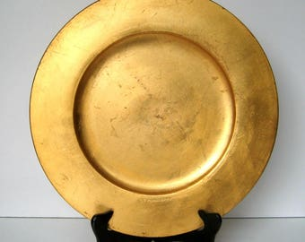 Vintage Charger - Pier 1 Imports, Gold leaf, Charger plate, Home décor, Centerpiece, Not intended for food, Made in Italy, Collectible