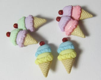 Double Scoop Ice Cream Cone with Cherry on Top  Novelty Buttons