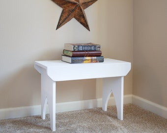 """Tall Farmhouse Stool - Hand painted stool, country bench, 24"""" x 16"""" x 11"""" shabby chic bench"""