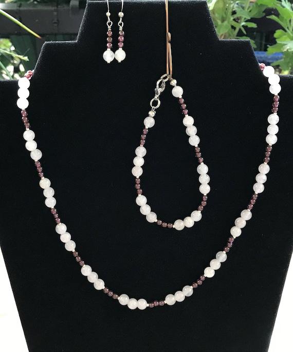 Rose Quartz and Garnet Necklace Set