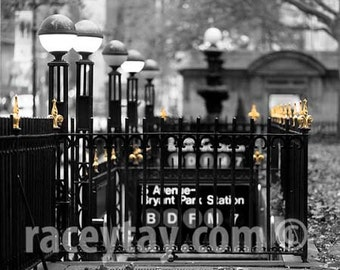 Photograph of New York Subway, Black & White New York Photography, Gold, Bryant Park, NYC Subway, Office Decor, Men