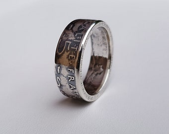 Ring coin 5 francs planter in Silver (coin ring)