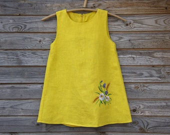 Linen, Embroidered Dress, Flower Girl, Rustic Wedding, Yellow Linen, Country Dress, Handmade girl dress, Girl clothing, Summer party dress