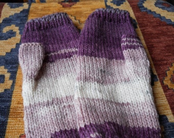 Ladies purple fingerless gloves, Cream /purple fingerless gloves,Ladies  multi mittens