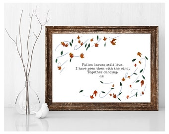 Instant Download Fall Leaves Haiku Poem Original Photoshop Illustration