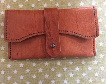 Deerskin hand stitched lined leather coin purse